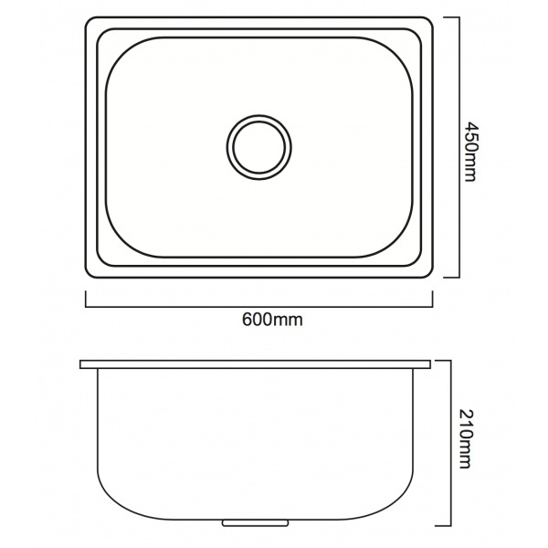 CLOSE อ่างล้างจาน 1 หลุมไม่มีที่พัก SUS304 ขนาด 60x45x21 ซม. YTS6045B-30PO