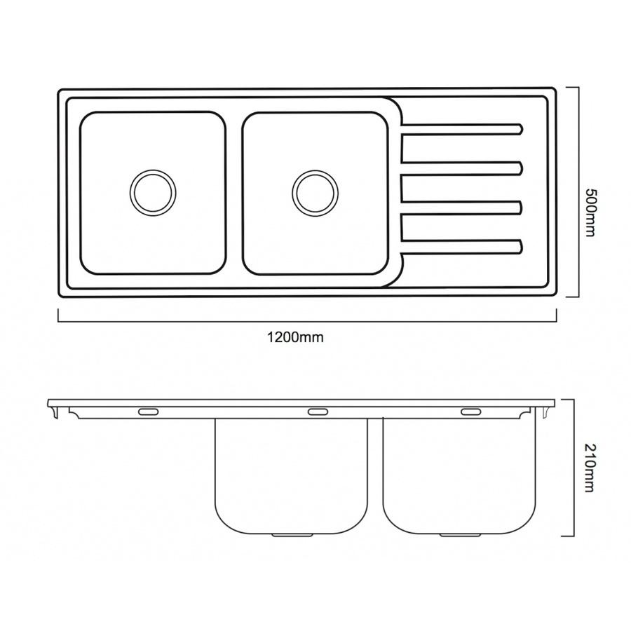 CROWN อ่างล้างจาน 2 หลุมมีที่พักขอบยก 120x50x21 ซม.  YTD12050K-20PO