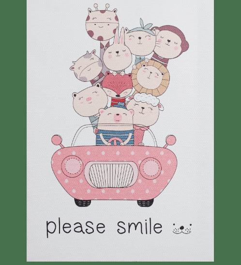 NICE รูปภาพพิมพ์ผ้าใบ Kid ขนาด 20x30ซม. (ก.xส.) (สัตว์ต่างๆนั่งรถ) C2030-2