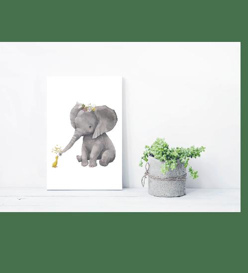NICE รูปภาพพิมพ์ผ้าใบ Kid ขนาด  20x30ซม. (ก.xส.) (ช้างน้อยกับเป็ดน้อย) C2030-3