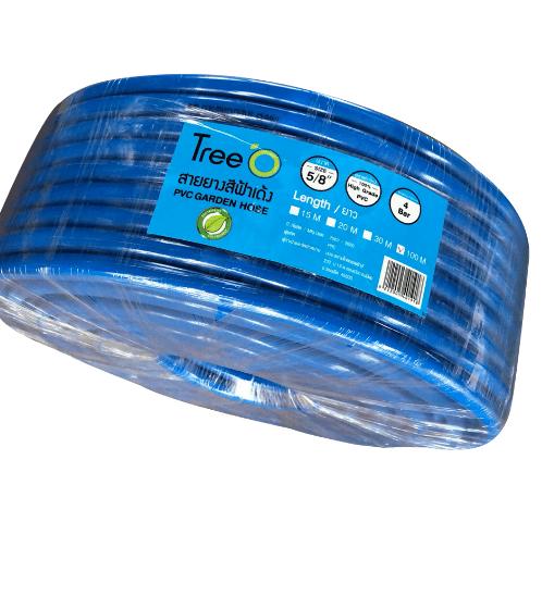 Tree O สายยางสีฟ้าเด้ง ขนาด 5/8นิ้ว x100M  PGH-B58-100