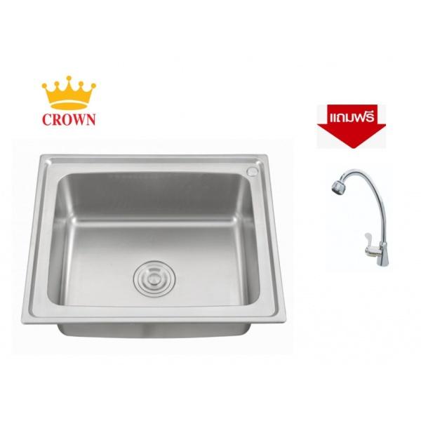 CROWN อ่างล้างจาน 1 หลุมไม่มีที่พัก  WS6050**แถมฟรี 8855090028791 ก๊อกอ่างล้างจานเคาน์เตอร์ GH-0092**