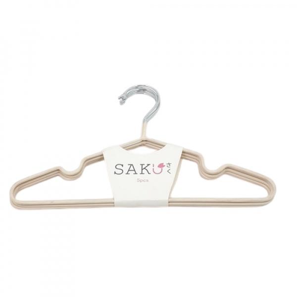 SAKU ไม้แขวนเสื้อเหล็กเคลือบ สำหรับเด็ก บรรจุ 5 ชิ้น/แพ็ค AN21 สีกากี