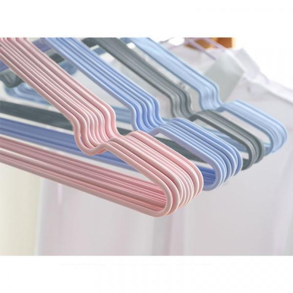 SAKU ไม้แขวนเสื้อเหล็กเคลือบกันลื่น   แพ็ค 10 ชิ้น AN102 สีชมพู