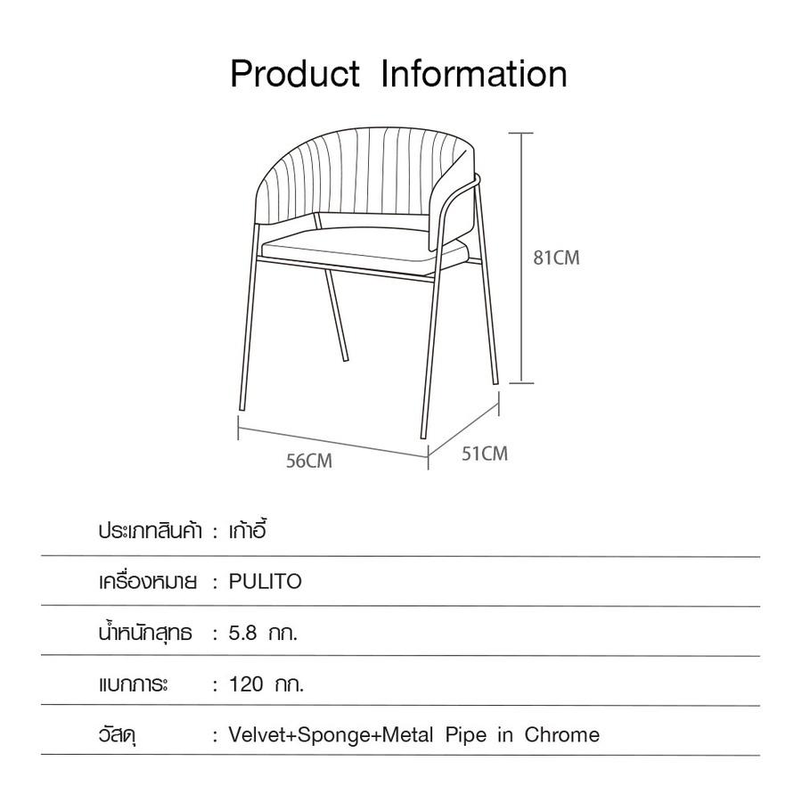 Pulito  เก้าอี้ 51×56×81cm  SVC-0124 สีน้ำเงิน