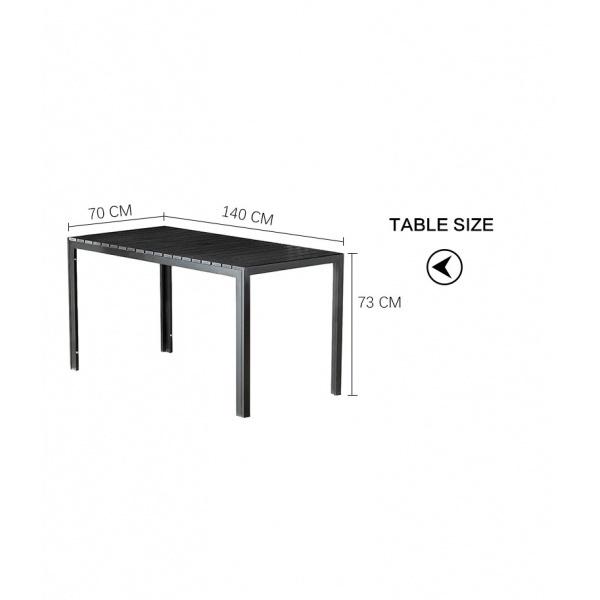 Delicato โต๊ะสนาม 4 ที่นั่ง ขนาด 70×140×73ซม. HB17  สีดำ