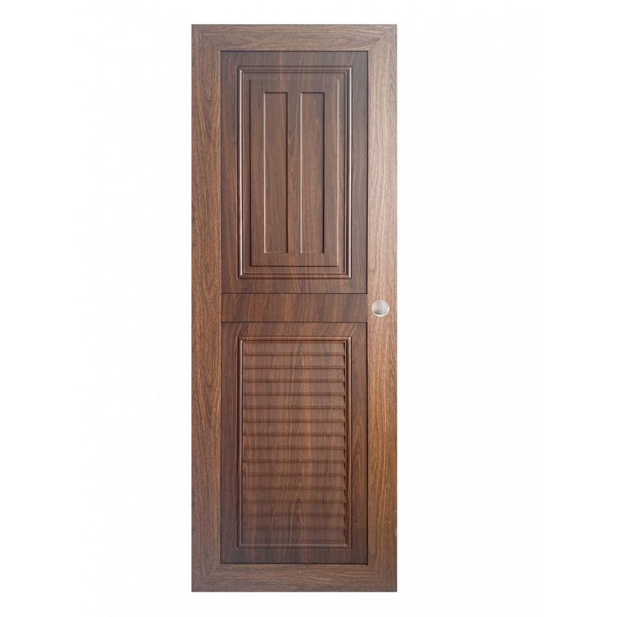 WELLINGTAN  ประตู ABS ลูกฟักพร้อมเกล็ดระบายอากาศขนาด 70x200ซม. Dark Brown  ABS-A14-04 สีน้ำตาลเข้ม