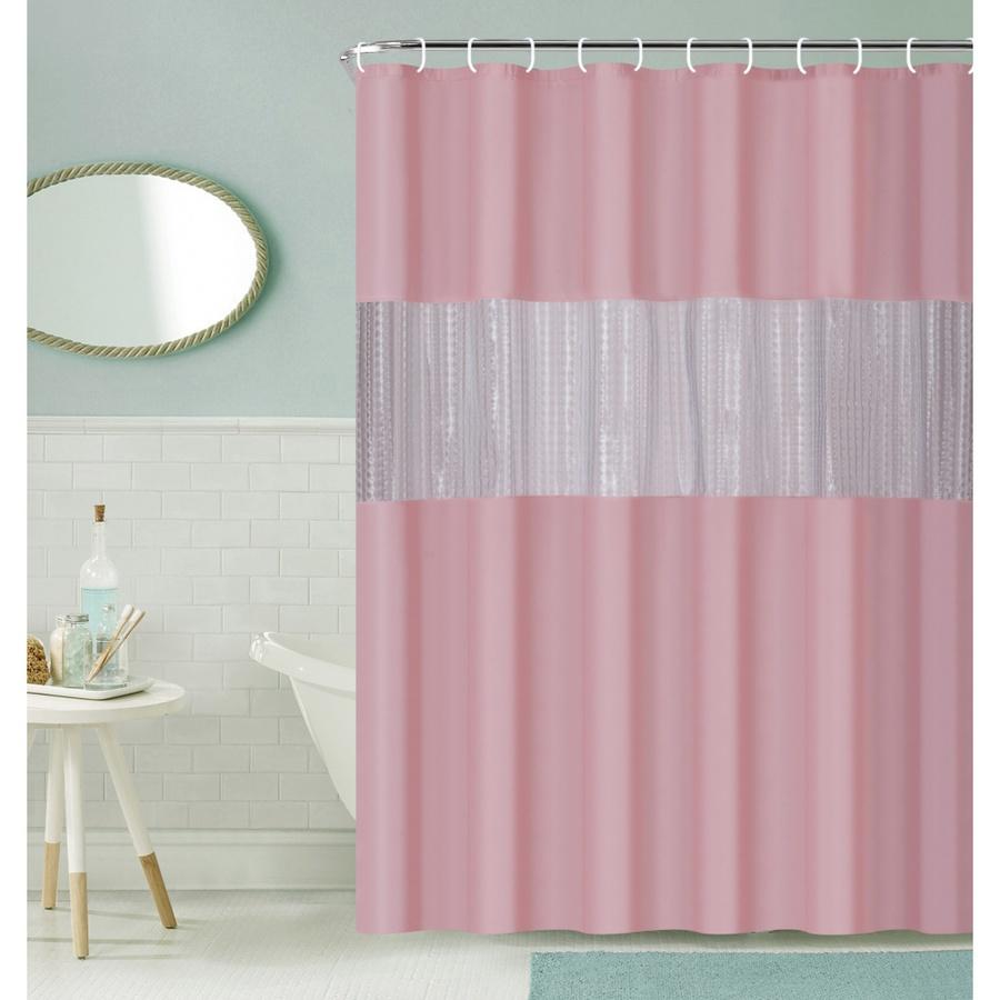 Primo ผ้าม่านห้องน้ำ PEVA ขนาด 180x200 ซม. EDJJ09-PK สีชมพู