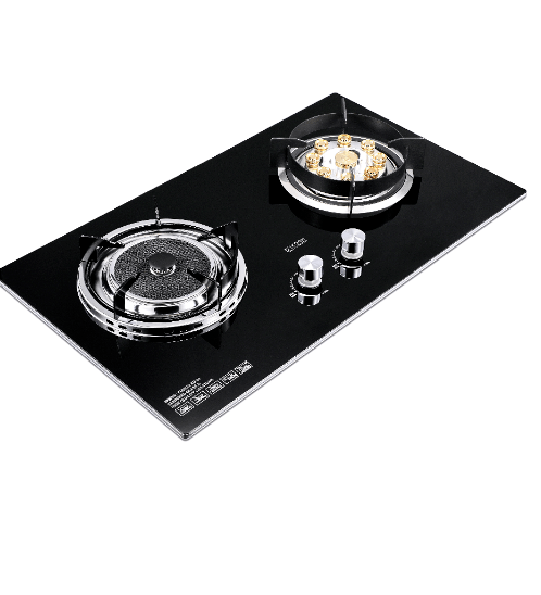Koch Kitchen เตาแก๊สแบบฝ้งหน้ากระจก 2หัวเตา  Fuerte KH-03 สีดำ