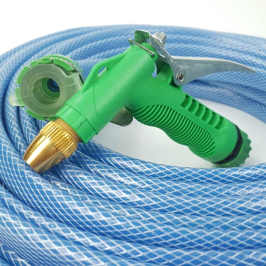 Tree O ชุดสายยาง PVC ใสถัก 1/2 นิ้ว พร้อมหัวฉีด ยาว 10M PQS-PC10 สีน้ำเงิน