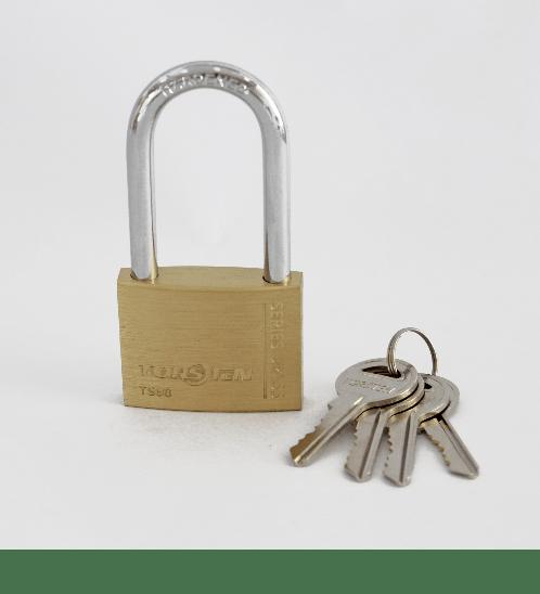 TOSTEN กุญแจคล้องทองเหลืองระบบสปริง (ห่วงยาว) ขนาด 50มม.  TS 50L