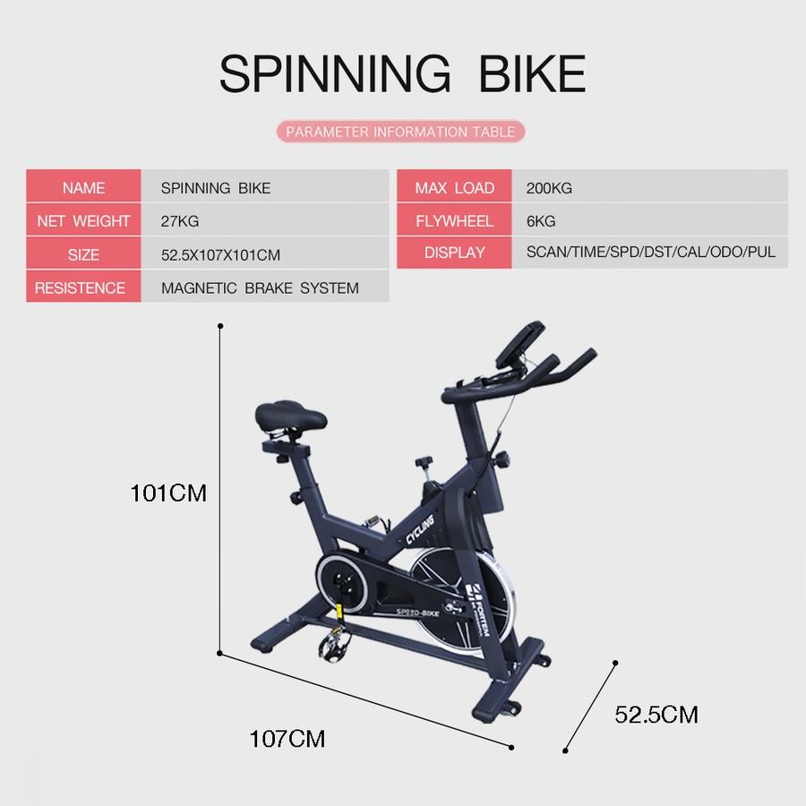 4TEM จักรยานนั่งปั่นออกกำลังกาย ขนาด 52.5x107x101.5 ซม. LM-806 สีดำ