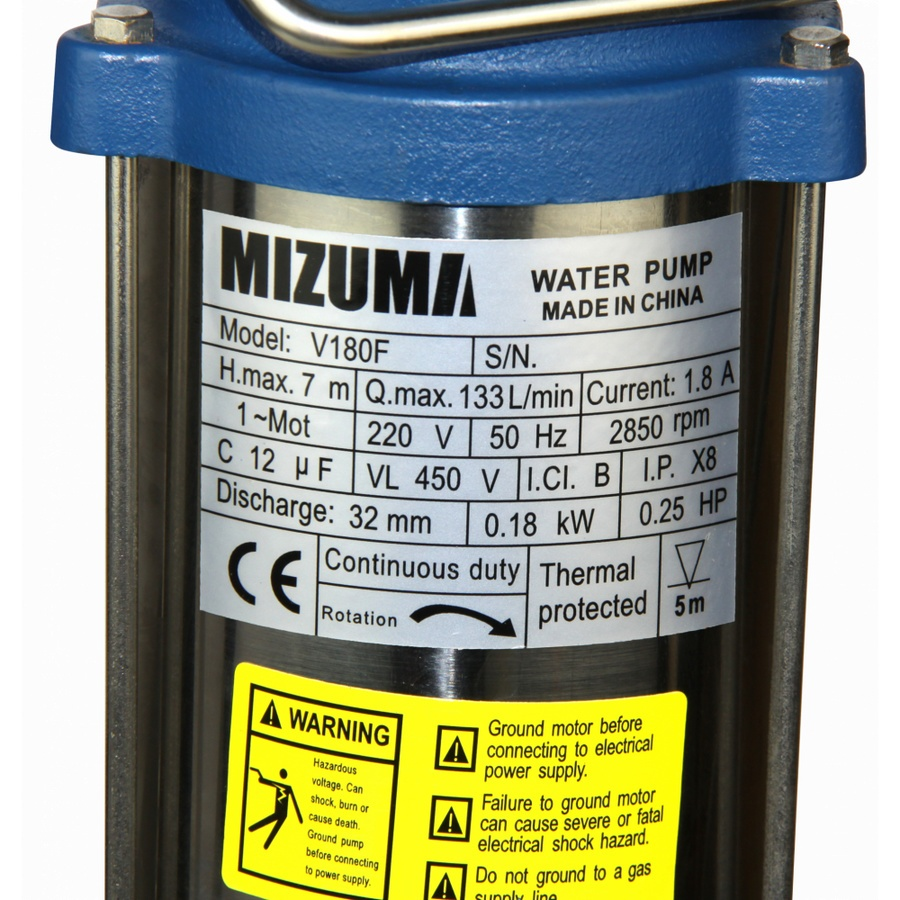 MIZUMA ปั้มจุ่ม พร้อมลูกลอย ขนาด 180 วัตต์ V180E สีน้ำเงิน