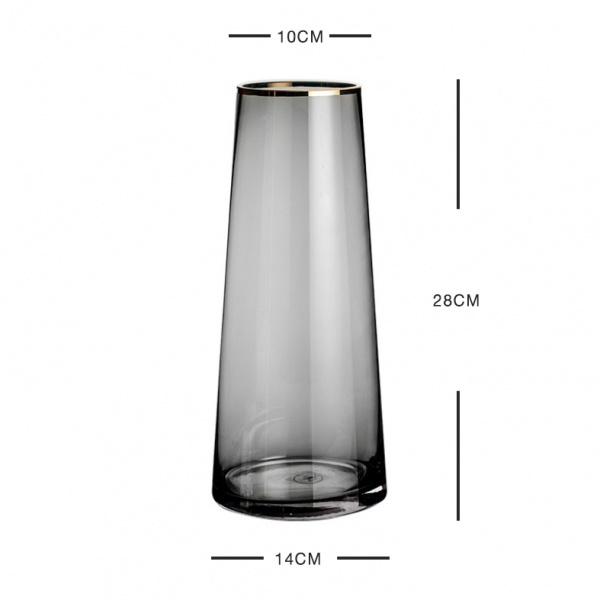 COZY แจกันแก้ว ขนาด 14x28 ซม. Black-L  สีดำ