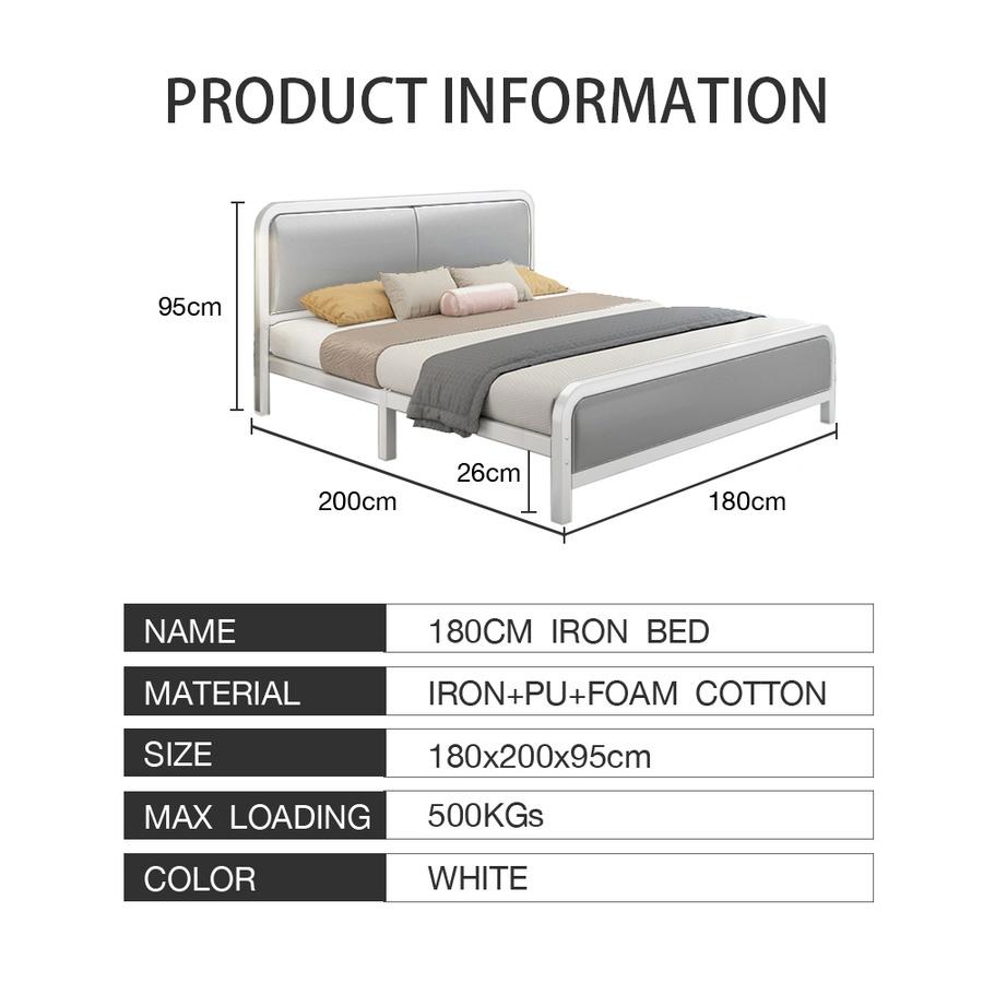 Truffle เตียงเหล็กหัวเบาะ 6 ฟุต  ขนาด 180×200×95ซม. BED115 สีขาว