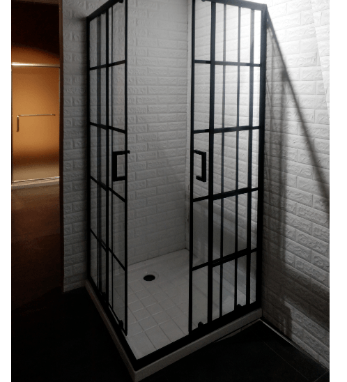 HERITAGE ฉากกั้นอาบน้ำแบบบานเลื่อนเข้ามุมฉาก  ขนาด 900x900x1900  PQS-PFL07 สีดำ