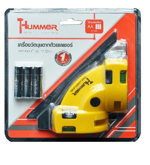 HUMMER เครื่องวัดมุมฉากด้วยเลเซอร์ พร้อมระดับน้ำ YA-BX25 คละสี