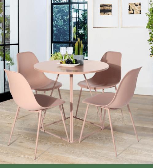 Pulito ชุดโต๊ะอาหาร 4 ที่นั่ง KONWIN Set Pink สีชมพู