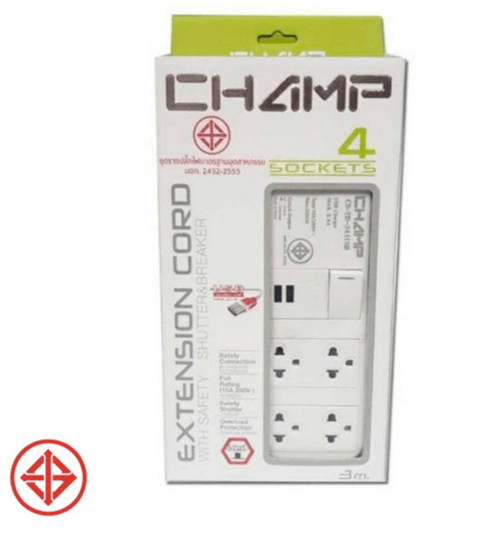 CHAMP รางปลั๊กไฟ  4ช่อง 2USB มีม่าน+เบรคเกอร์ 3ม.