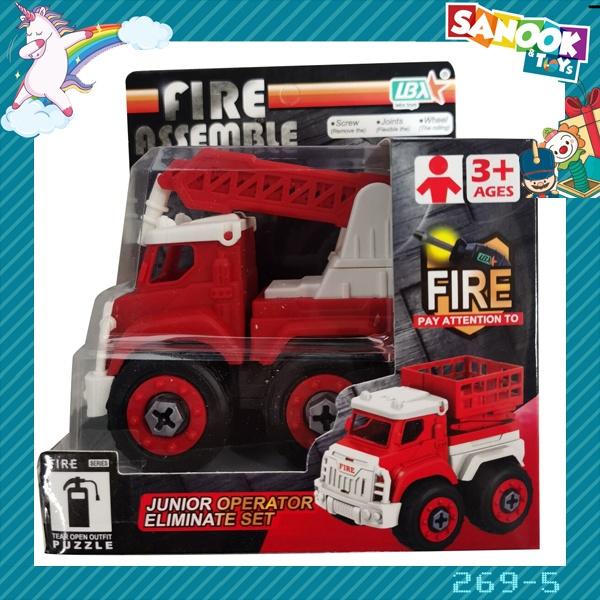 Sanook&Toys ของเล่นรถดับเพลิงกู้ภัย DIY  #269-5 (9.7x16x14ซม.) สีแดง