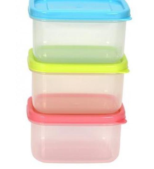 GOME ชุกล่องอาหารพลาสติกทรงสี่เหลี่ยม 3 ชิ้น/แพ็ค  ZS3012 210ML.