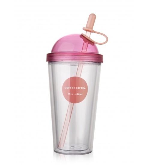 LAMAYON แก้วพลาสติกแฟนซี ขนาด 320มล. EXB017-WH สีชมพู