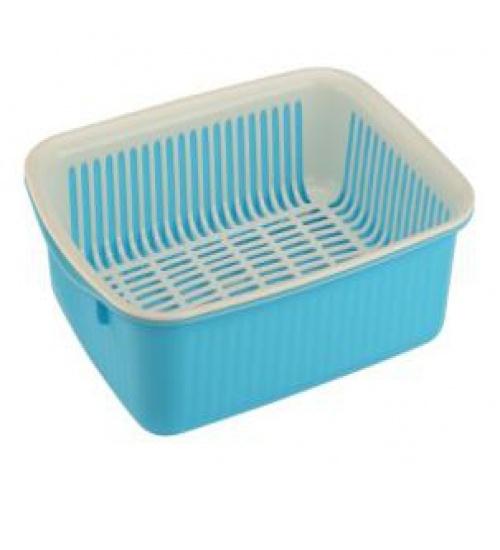 GOME ตะกร้าคว่ำจาน ขนาด 26.50x35x9 ซม. สีฟ้า-ขาว DYS003