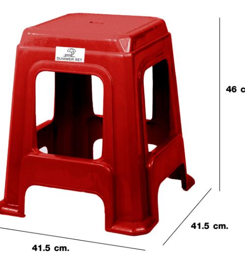 SUMMER SET เก้าอี้พลาสติกทรงเหลี่ยม ไจแอนท์ FT-257/B แดง