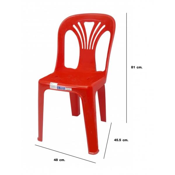 FREEZETO เก้าอี้พลาสติกพนักพิง  หยก FT-220/A สีแดง