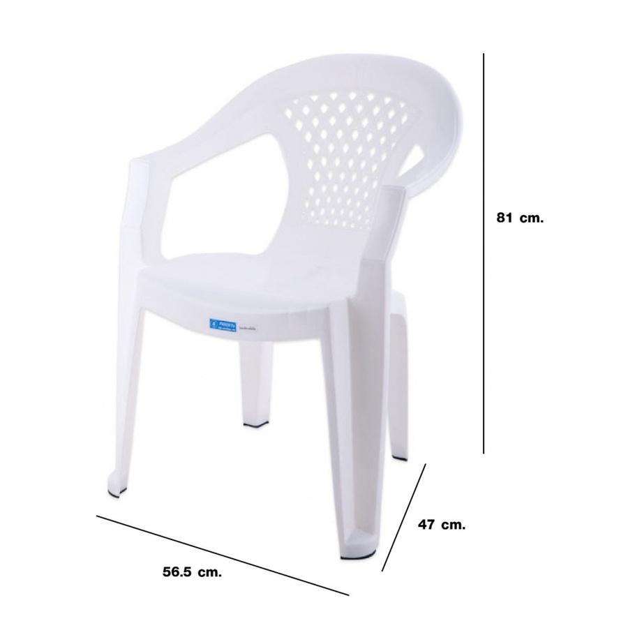FREEZETO เก้าอี้พลาสติกท้าวแขน หลุยส์ FT-228/A สีขาว