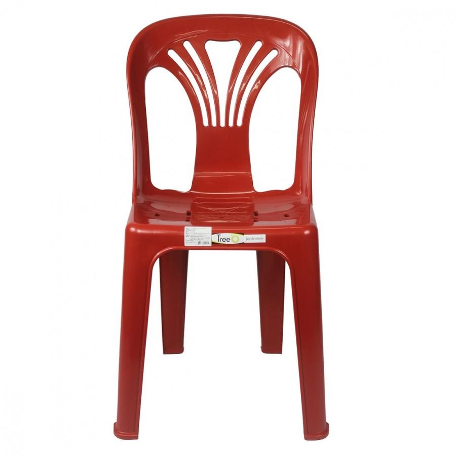 Tree O เก้าอี้พลาสติกพนักพิง หยก FT-220/B สีแดง