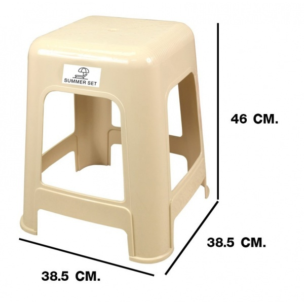 SUMMER SET เก้าอี้พลาสติกทรงเหลี่ยม ไดโนFT-206/A สีครีม