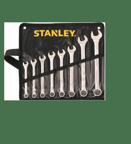 STANLEY ชุดประแจแหวนข้าง ปากตาย 8 ชิ้น -ซองผ้าสีดำ STMT80940-8 สีโครเมี่ยม