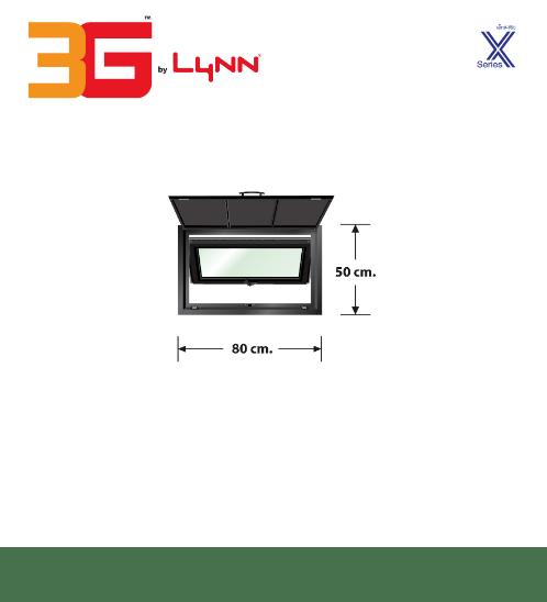 3G หน้าต่างบานกระทุ้งเดี่ยว+ชุดมุ้งลวด X (0.80 x 0.50) X-SERIES สีดำ