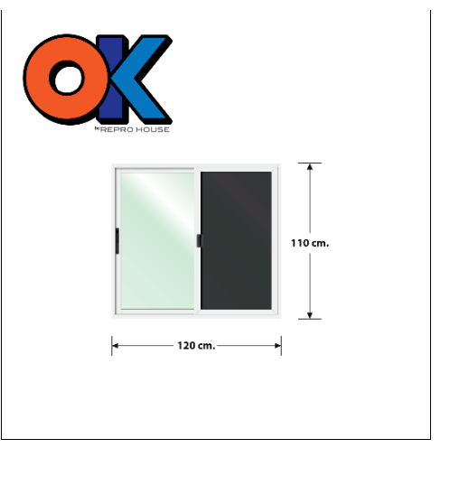 3G  หน้าต่างอลูมิเนียมบานเลื่อนพร้อมมุ้ง Series ขนาด 120x110ซม. OK สีขาว