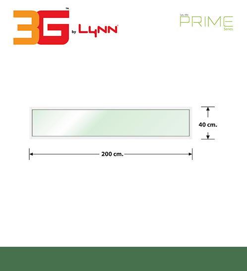 3G  หน้าต่างอลูมิเนียมช่องแสงติดตาย ขนาด  200x40ซม.   (PS) สีขาว