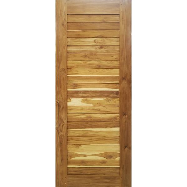 SJK ประตูไม้สัก บานทึบทำร่อง (3) ขนาด 80x200cm.  SJK006