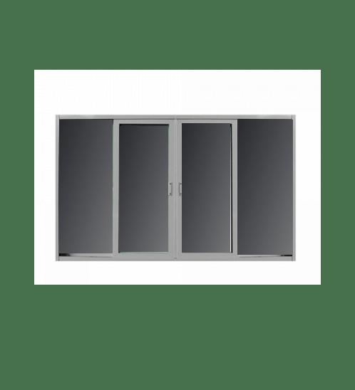 RKT หน้าต่างบานเลื่อน UPVC ขนาด 240x110 ซม. กรอบขาว กระจกดำ  ขาว