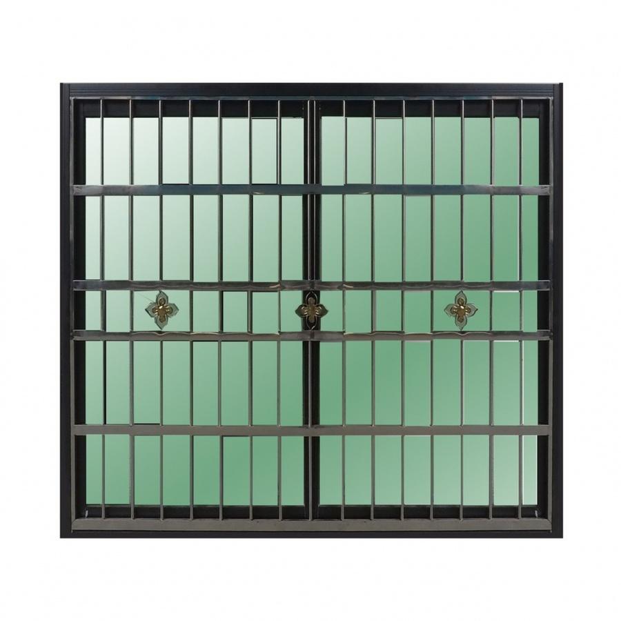 RAKANGTHONG หน้าต่างอลูมิเนียมบานเลื่อน  120x110cm. พร้อมสแตนเลสดัด WINKING  SS สีดำ