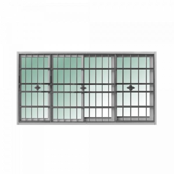 RAKANGTHONG หน้าต่างอลูมิเนียมบานเลื่อน พร้อมสเตนเลสดัด ขนาด 240x110cm.   WINKING  FSSF  สีขาว