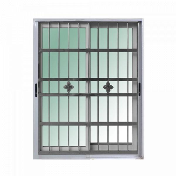 RAKANGTHONG ประตูอลูมิเนียมบานเลื่อน ขนาด  160x205cm. พร้อมสแตนเลสดัด RAKANGTHONG WINKING  SS สีขาว