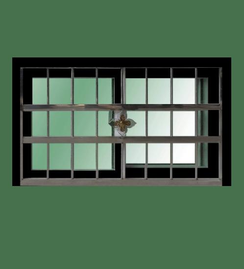 ระฆังทอง หน้าต่างบานเลื่อนอลูมิเนียม สแตนเลสดัดกรอบดำกระจกเขียวใส ขนาด50*80 ซม. 2ช่อง