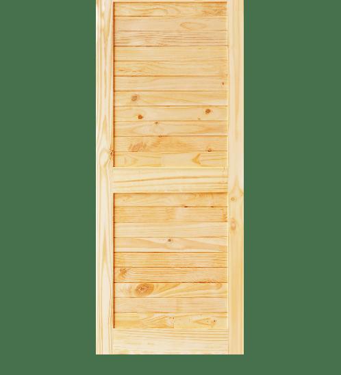 D2D ประตูไม้สนนิวซีแลนด์ บานทึบทำร่อง ขนาด  90x200ซม.  Eco Ezero26