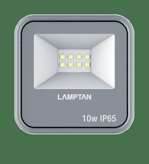 LAMPTAN โคมไฟฟลัดไลท์ LED 10W แสงวอร์มไวท์ รุ่นกริท  IP65 GRIT สีเทา