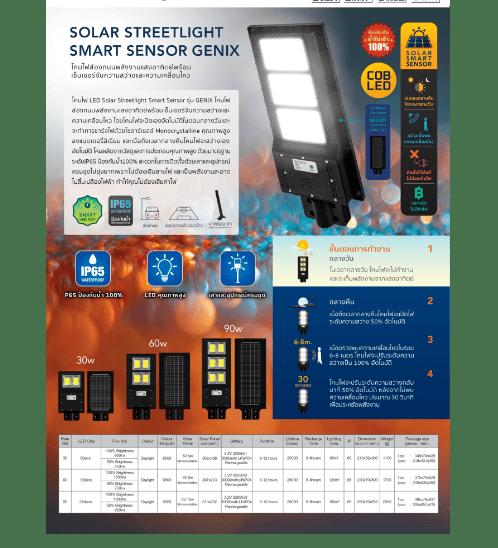 LAMPTAN โคมไฟถนน โซล่าร์เซลล์ LED 90W แสงเดย์ไลท์ รุ่นสมาร์ทเซ็นเซอร์ จีนิกซ์ IP65 สมาร์ทเซ็นเซอร์ จีนิกซ์  สีดำ