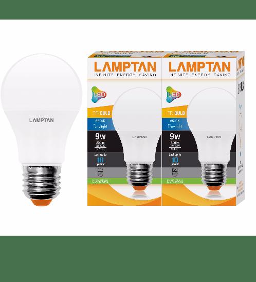 LAMPTAN หลอด LED bulb 9w แพ๊คคู่ แสง เดย์ไลท์ - สีขาว