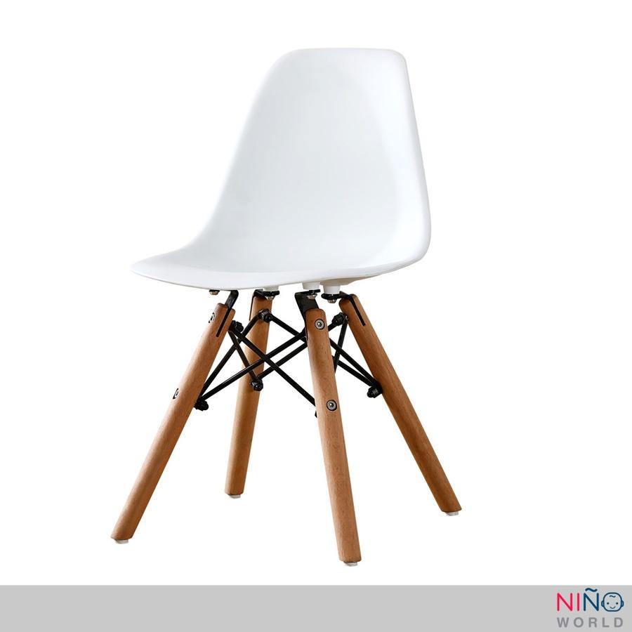 NINO WORLD เก้าอี้สไตล์โมเดิร์นที่นั่งพลาสติก ขาไม้สีบีช คละสี EM-2