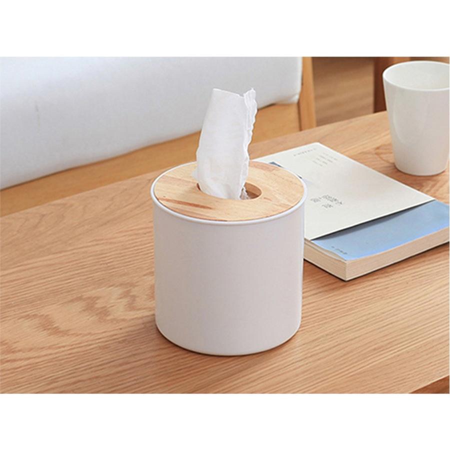 USUPSO กล่องใส่ทิชชู่ทรงกลม  ฝาไม้ไผ่ สีขาว