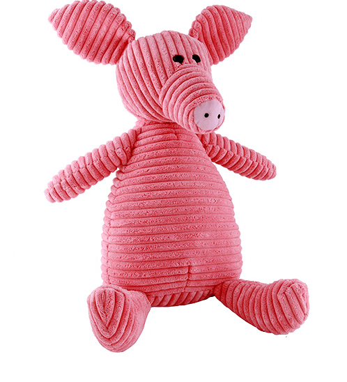 USUPSO ตุ๊กตาหมูผ้าลูกฟูกลายริ้ว 37 ซม. - สีชมพู