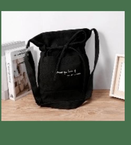 USUPSO กระเป๋าผ้าแคนวาผูกโบว์ - สีดำ